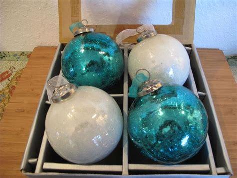 mercury glass christmas tree and teal vintage kugel teal white mercury crackel glass ornament set 4 ornament