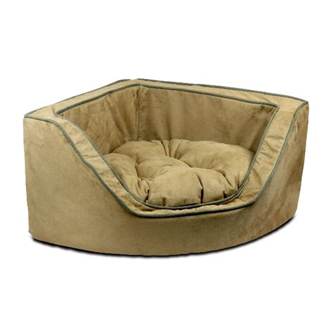 corner dog bed corner dog bed luxury overstuffed with microsuede