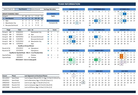 Uefa Chions League 2012 2013 Fixtures And Scoresheet Excel Templates Team Calendar Template