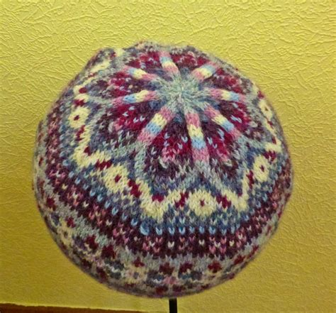 fair isle knit yellow pink and sparkly fair isle hat