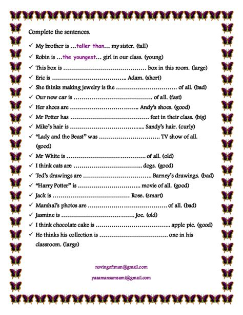 Adjectives That Compare Worksheets by Comparative And Superlative Adjectives Worksheets For 2nd