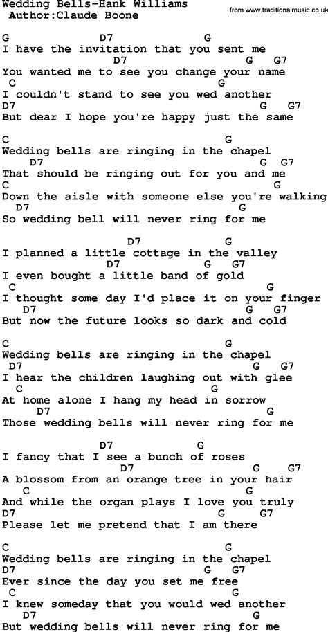 Country Music Wedding Bells Hank Williams Lyrics And Chords House Wedding Bell Lyrics
