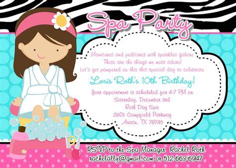 free printable birthday invitations spa theme spa birthday party invitations party invitations templates