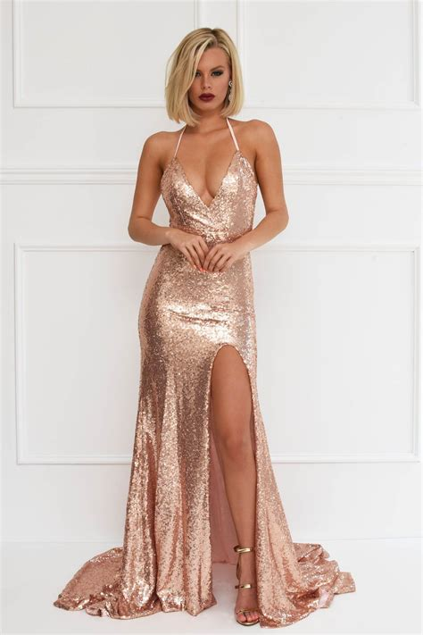Bridesmaid Dresses With Slits Up The Leg - estellina front slit sequin gown gold mermaid