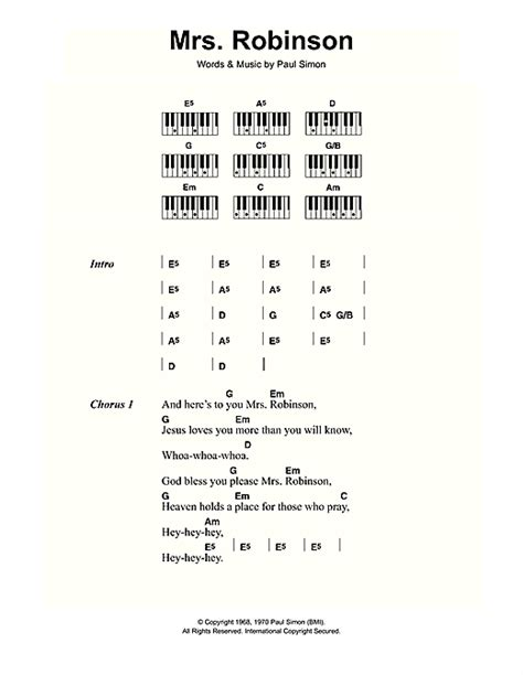 guitar tutorial mrs robinson mrs robinson partition par simon garfunkel lyrics