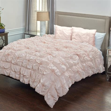 pink pattern bedding rizzy home pink solid rouching pattern 3 piece king bed