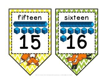 free printable number line banner fox theme chevron printable number line pennant banner