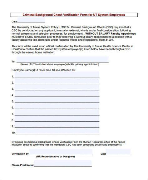 Criminal Background Verification 89 Free Employment Verification Forms Success Get
