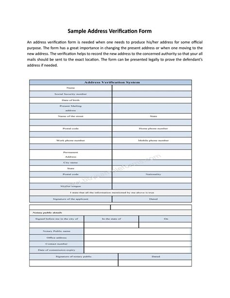 address form template address verification form template by buy sle forms issuu