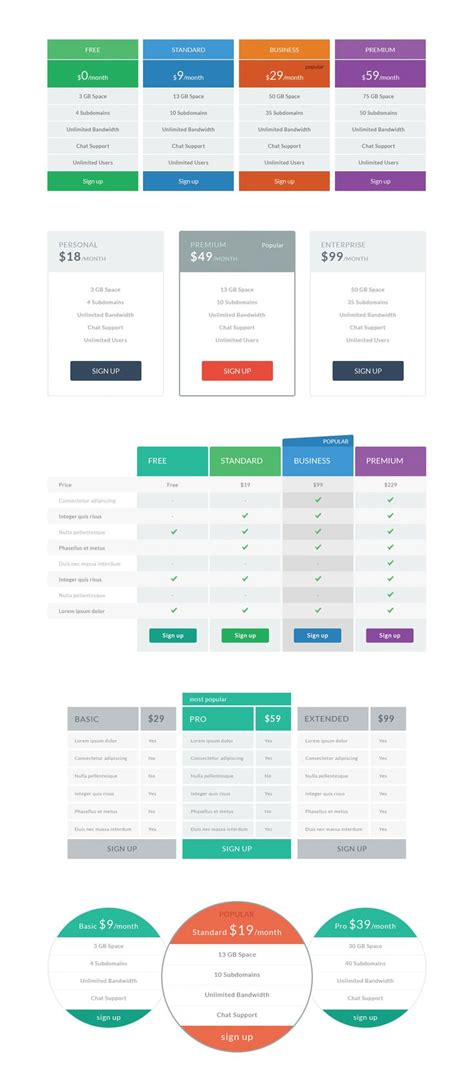 Web Table 25 Best Ideas About Pricing Table On Website