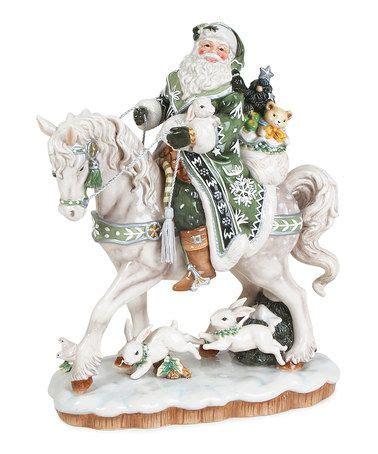 reindeer statue reindeer rides 5 cents fitz and floyd winter garden santa on figurine noel and green