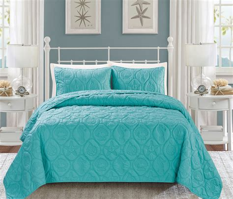 turquoise quilt bedding seashell turquoise reversible bedspread quilt set