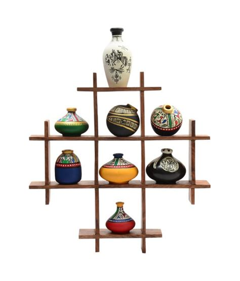 home decor gift items exclusivelane wooden wall hanging with 8 terracotta pots