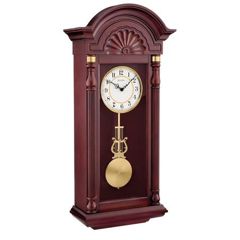 wall clocks bulova new yorker chiming pendulum wall clock c1516