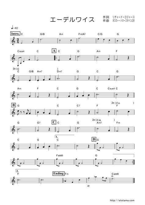 「エーデルワイス」の楽譜/おとタマ