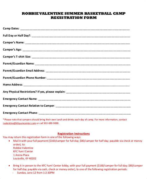 sport registration form template registration forms in pdf