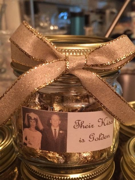 50th wedding anniversary party favor their kiss is golden