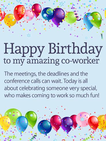 Happy Birthday Wishes To Colleague To The Best Co Worker Ever Happy Birthday Card Birthday