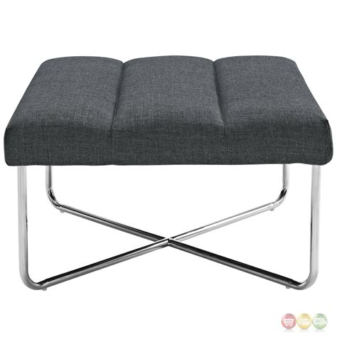 fabric chair with ottoman reach channel tufted fabric ottoman chair with chrome base