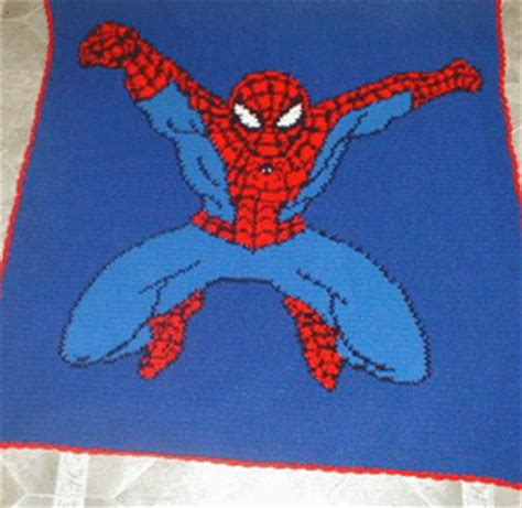 spiderman pattern crochet finished afghans from my graphs