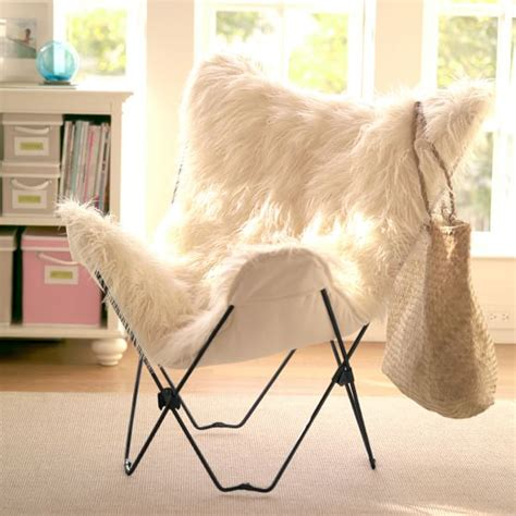 furry desk chair cover ivory furlicious faux fur butterfly chair pbteen