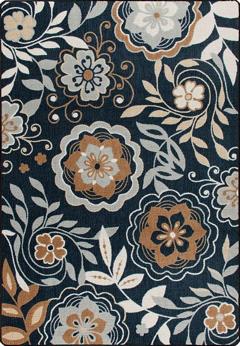 contemporary floral area rugs 8x11 milliken garden passage blue modern floral area rug approx 7 8 quot x10 9 quot ebay
