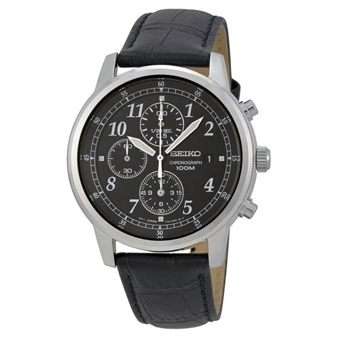 seiko chronograph black black leather s