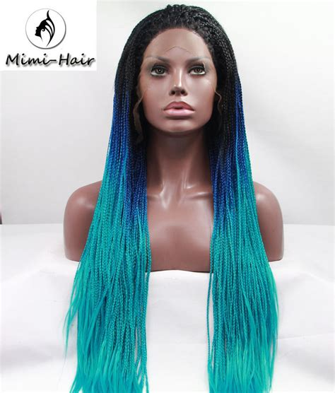 african box braided front lace wigs natural ombre blue straight braided synthetic lace front