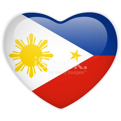 philippines flag heart glossy button stock vector