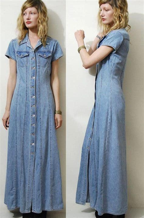 Baju Vintage Maxy 90s vintage denim dress maxi button vtg 1990s pale light blue fabric grunge xs