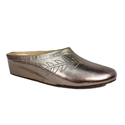pewter lunar amanda metallic leather slipper mule