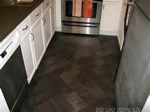Diy Kitchen Floor Diy Herringbone Quot Tile Quot Floor Using Peel Stick Vinyl Knock It East Coast Creative