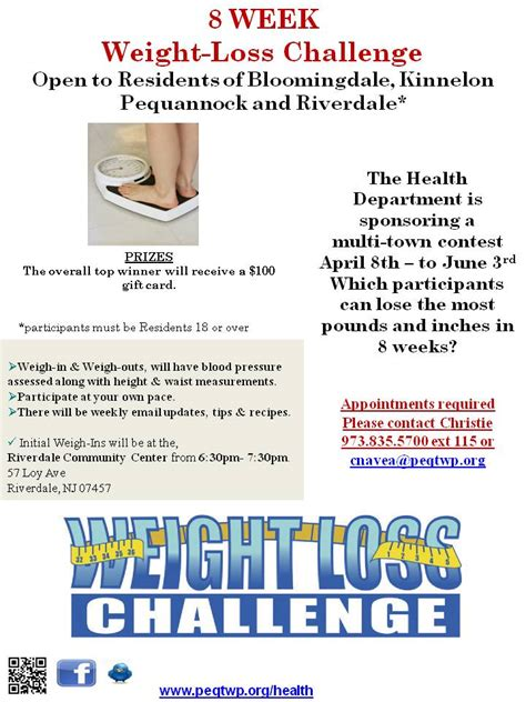 weight loss challenge flyer template weight loss challenge page township of pequannock morris county new jersey