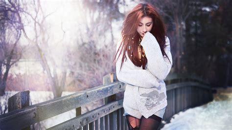 wallpaper girl winter red hair girl bridge winter wallpaper girls