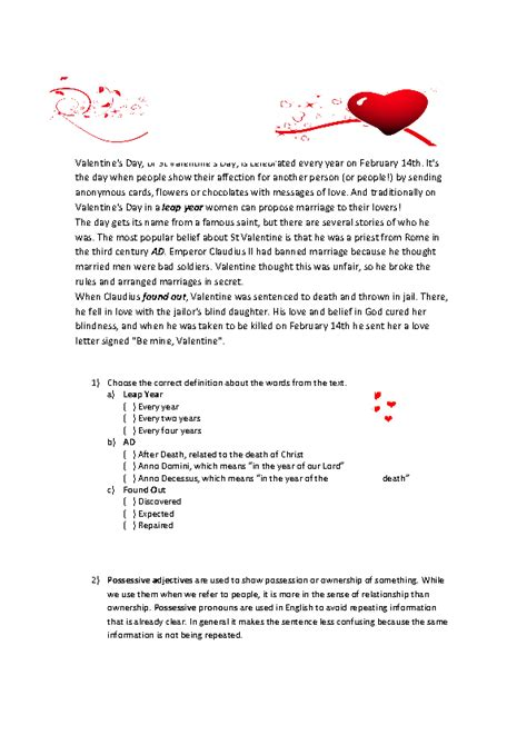 valentines reading comprehension worksheet 119 free possessive pronouns worksheets teach possessive