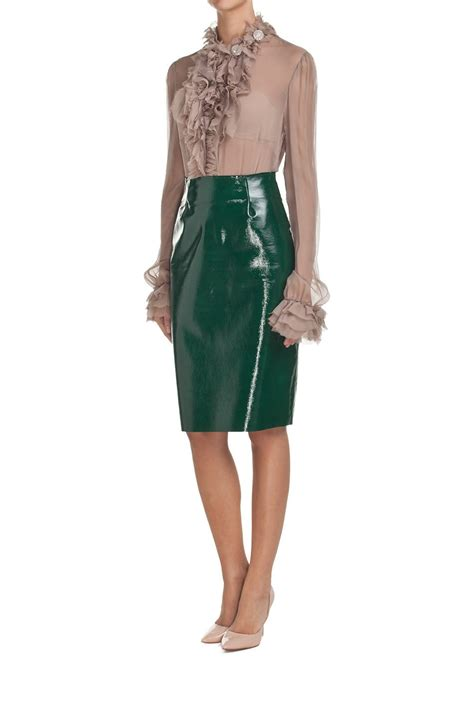 green patent leather skirt