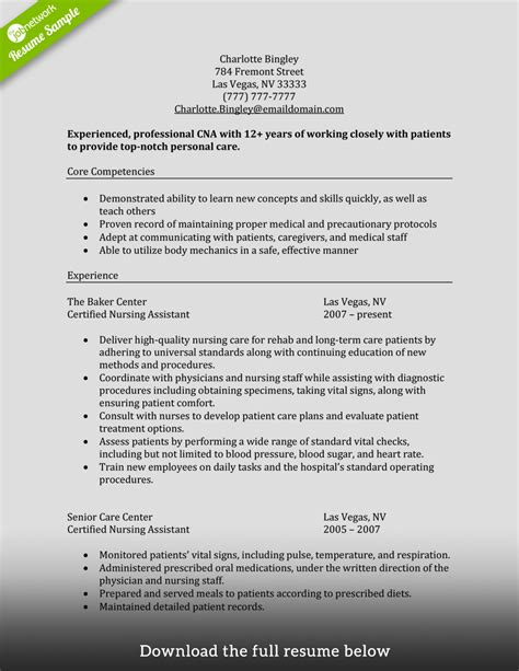 cna resume sle for new graduate cna how to write a cna resume exles included