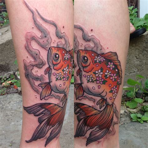 patrick tattoo japanese goldfish flower by michael of milestone