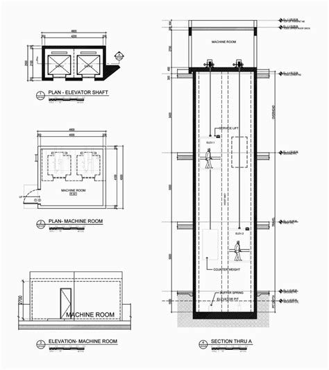 elevator section pin cad drawing engineering lift elevator car plans on