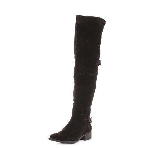 womens knee thigh high flat black suede style