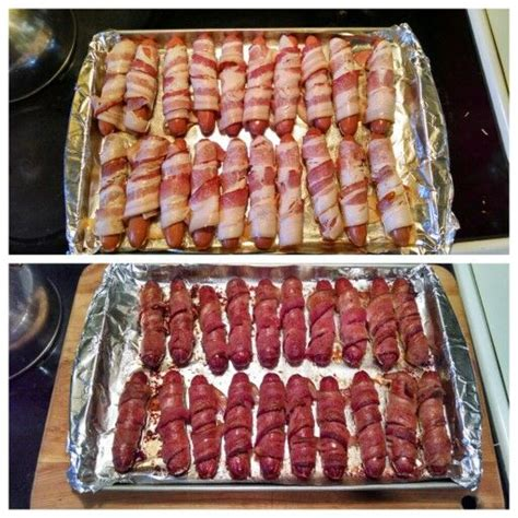 how to cook dogs in the oven epic bacon wrapped hotdogs place foil on jelly roll pan spray with pam cooking spray