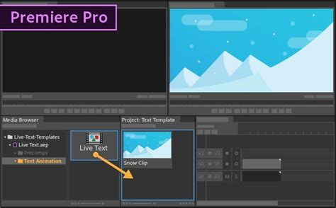 Credit Title Template Premiere How To Use Live Text Templates From After Effects In Premiere Pro Adobe Premiere Pro Cc Tutorials