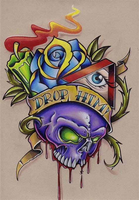 colorful drawings skull drawing prisma colored pencils part 2