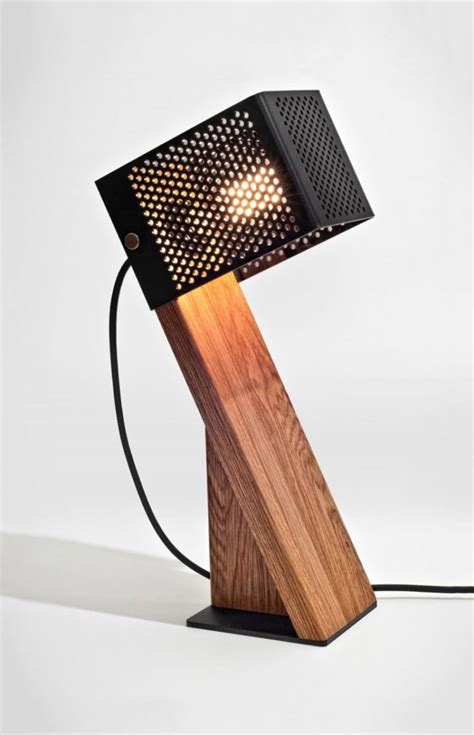 The Handcrafted - handcrafted oblic wood table l id lights