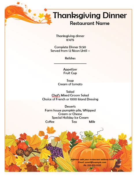 thanksgiving party menu template word templates
