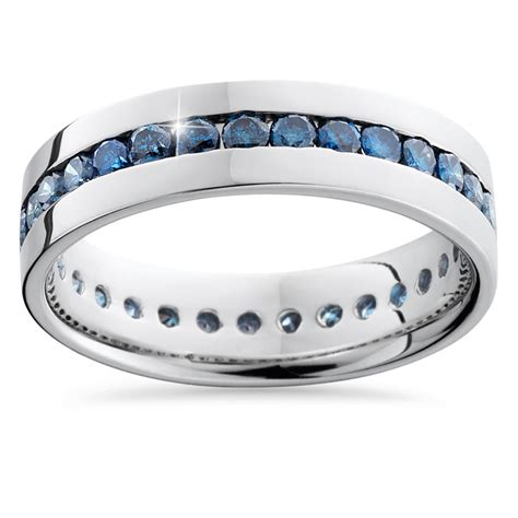 1 25ct blue channel set eternity mens wedding ring