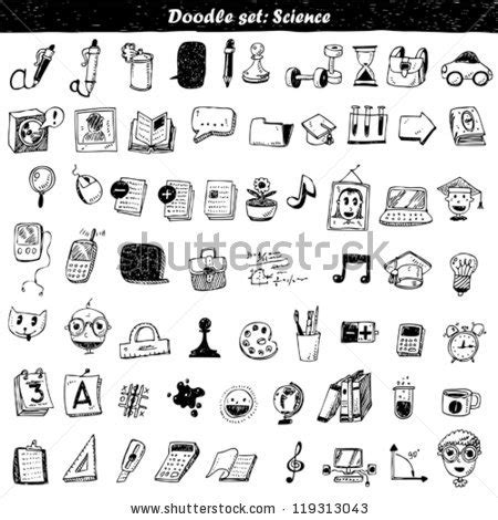 doodle vacuum bomb everyday objects icons set sketched planner stock vector