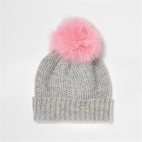 Pompom Beanie Hat grey feather pom pom bobble beanie hat hats