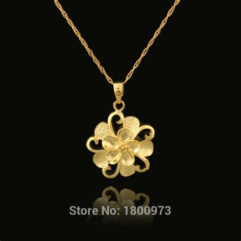 flower design necklace wholesale 22k gold color beautiful flower design fashion