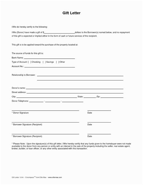 mortgage gift letter template reasons love